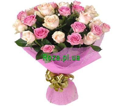 """Bouquet of roses in gentle tones"" in the online flower shop roza.pl.ua"
