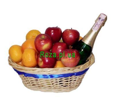 """""""Корзина с фруктами и шампанским"""" в интернет-магазине цветов roza.pl.ua"""