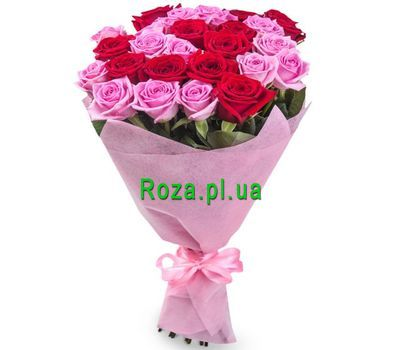 """Red and pink roses in a bouquet"" in the online flower shop roza.pl.ua"