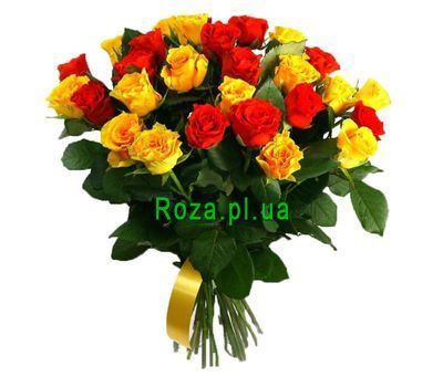 """Red and yellow roses in a bouquet"" in the online flower shop roza.pl.ua"