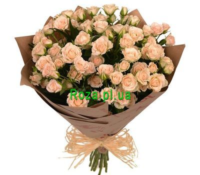 """Cream bush roses in kraft"" in the online flower shop roza.pl.ua"