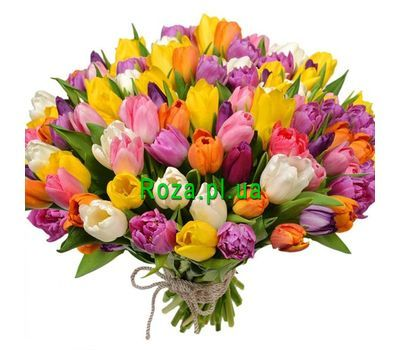 """Bouquet of 101 tulips"" in the online flower shop roza.pl.ua"
