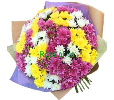 """Shrub chrysanthemums in bouquet"" in the online flower shop roza.pl.ua"