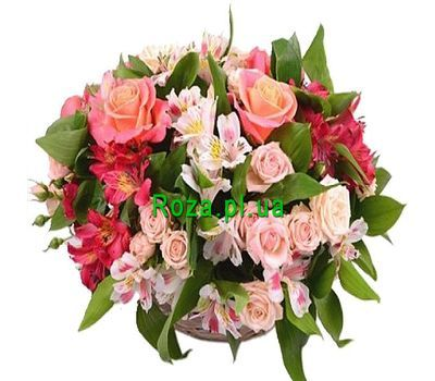 """Nice composition in the basket"" in the online flower shop roza.pl.ua"