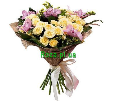 """""""Lovely bouquet with orchids"""" in the online flower shop roza.pl.ua"""