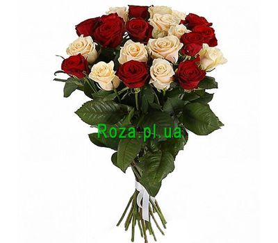 """Amazing bouquet of red and cream roses"" in the online flower shop roza.pl.ua"