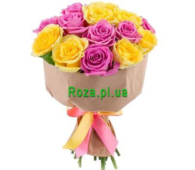 """Bright yellow-pink bouquet"" in the online flower shop roza.pl.ua"