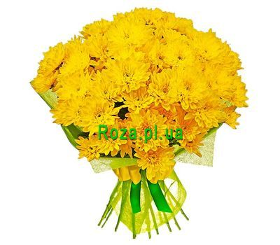 """Yellow chrysanthemums in a bouquet"" in the online flower shop roza.pl.ua"