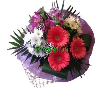 """""""Bouquet of 3 gerberas, 2 chrysanthemums and 2 alstromeria"""" in the online flower shop roza.pl.ua"""