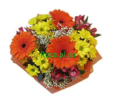 """Bouquet of 3 gerberas, 3 chrysanthemums and 3 alstroemeria"" in the online flower shop roza.pl.ua"