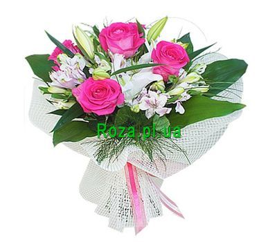 """Bouquet of 1 lily, 5 alstroemeria and 5 roses"" in the online flower shop roza.pl.ua"