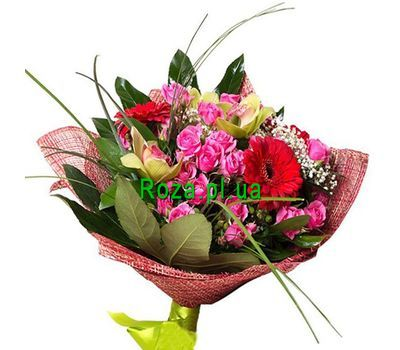 """Bouquet of 5 roses, 3 orchids and 5 roses"" in the online flower shop roza.pl.ua"