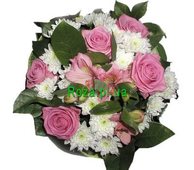 """Bouquet of 5 roses, 4 chrysanthemums and 2 alstroemeria"" in the online flower shop roza.pl.ua"