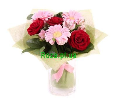"""Bouquet of 3 roses, 3 gerberas, 3 alstroemeria"" in the online flower shop roza.pl.ua"