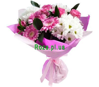 """Bouquet of 3 gerberas, 5 roses and 3 chrysanthemums"" in the online flower shop roza.pl.ua"