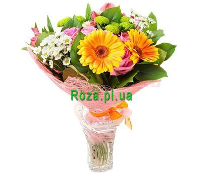 """Bouquet of 2 gerberas, 5 roses, 4 chrysanthemums and 2 alstroemeria"" in the online flower shop roza.pl.ua"