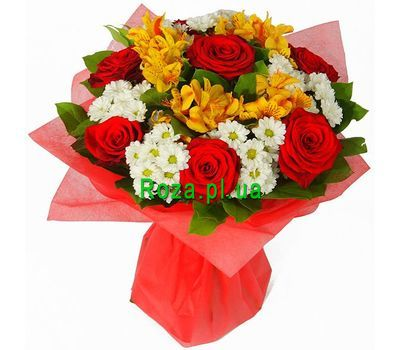 """""""Bouquet of 7 roses, 5 chrysanthemums and 5 alstroemeria"""" in the online flower shop roza.pl.ua"""