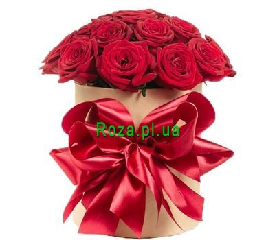 """15 red roses in a hat box"" in the online flower shop roza.pl.ua"