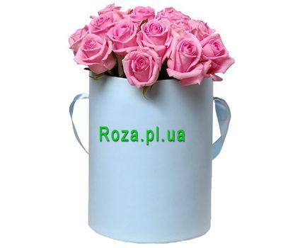 """""""15 розовых роз в круглой коробке"""" в интернет-магазине цветов roza.pl.ua"""