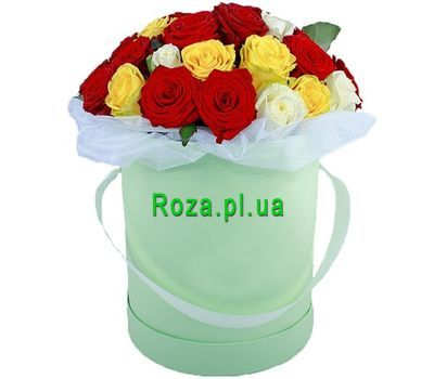"""Multicolored roses in a hat box"" in the online flower shop roza.pl.ua"