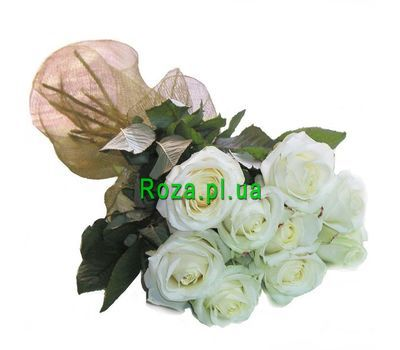 """Bouquet of 9 white roses"" in the online flower shop roza.pl.ua"