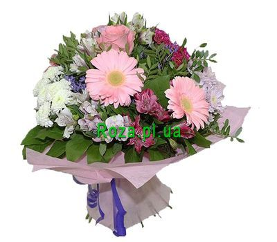 """""""Bouquet of 3 gerberas, 3 chrysanthemums, 3 roses and 5 alstroemerias"""" in the online flower shop roza.pl.ua"""