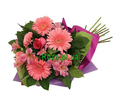 """""""Bouquet of 3 gerberas, 3 alstroemerias and 1 roses"""" in the online flower shop roza.pl.ua"""
