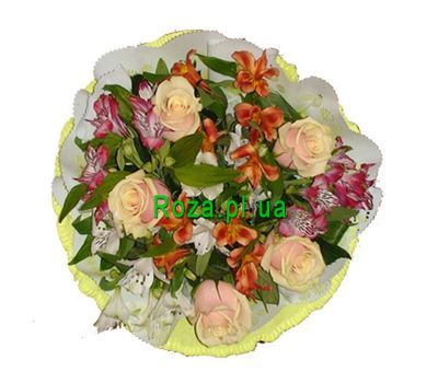 """Bouquet of 6 alstromeries and 5 roses"" in the online flower shop roza.pl.ua"