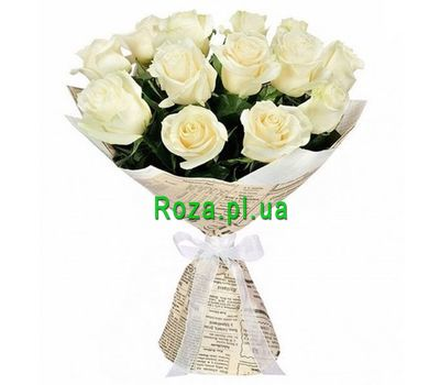 """Bouquet of 15 white roses"" in the online flower shop roza.pl.ua"
