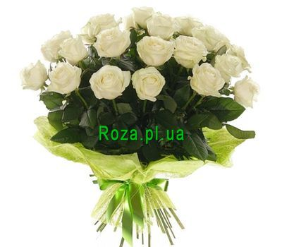 """Bouquet of 21 white roses"" in the online flower shop roza.pl.ua"
