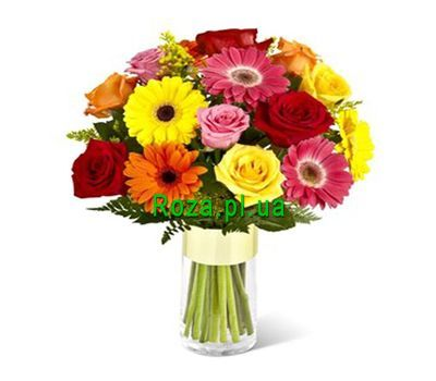 """Bouquet of 10 roses and 7 gerberas"" in the online flower shop roza.pl.ua"