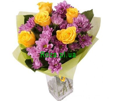 """Bouquet of 5 roses and 4 chrysanthemums"" in the online flower shop roza.pl.ua"