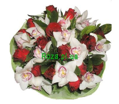 """""""Bouquet of 14 roses and 11 orchids"""" in the online flower shop roza.pl.ua"""