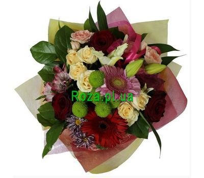 """Bouquet of 6 roses, 1 lilies, 2 gerberas"" in the online flower shop roza.pl.ua"