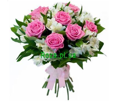 """""""Bouquet of 7 roses and 10 alstromeries"""" in the online flower shop roza.pl.ua"""