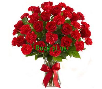 """Bouquet of 12 roses and 15 carnations"" in the online flower shop roza.pl.ua"