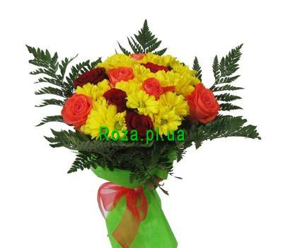 """Bouquet of 9 roses and 6 chrysanthemums"" in the online flower shop roza.pl.ua"