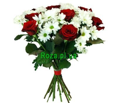 """Bouquet of 7 roses and 6 chrysanthemums"" in the online flower shop roza.pl.ua"