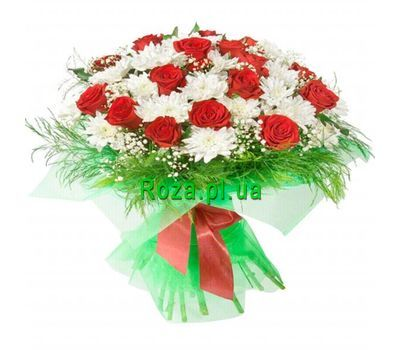 """Bouquet of 15 roses and 10 chrysanthemums"" in the online flower shop roza.pl.ua"