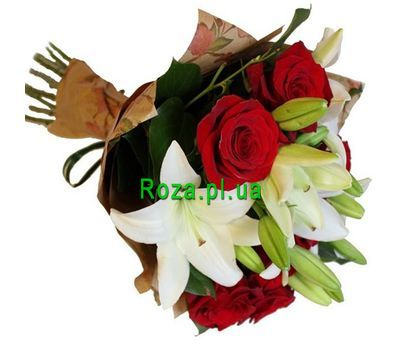 """Bouquet of 7 roses and 2 lilies"" in the online flower shop roza.pl.ua"