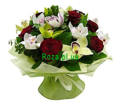 """Bouquet of 9 roses and 12 orchids"" in the online flower shop roza.pl.ua"