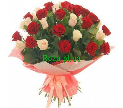"""Bouquet of 37 red and white roses"" in the online flower shop roza.pl.ua"