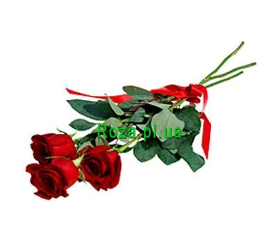 """Bouquet of 3 red roses"" in the online flower shop roza.pl.ua"