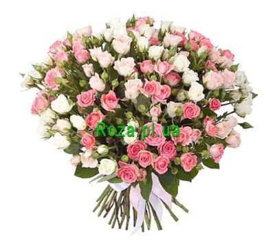 """Bouquet of 55 pink and cream roses"" in the online flower shop roza.pl.ua"