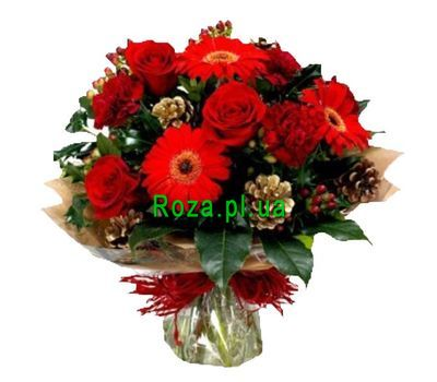 """Bouquet of 3 gerberas, 3 roses, 3 carnations"" in the online flower shop roza.pl.ua"