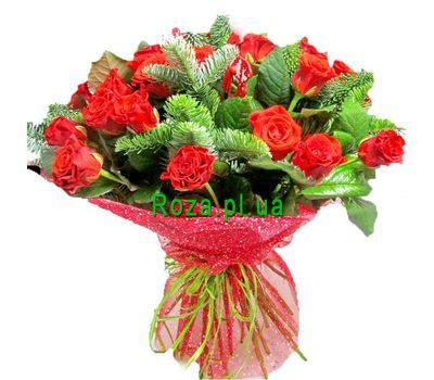 """Bouquet of 21 roses and spruce"" in the online flower shop roza.pl.ua"