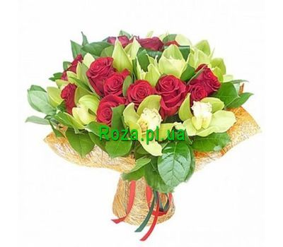 """Bouquet of 11 orchids and 16 roses"" in the online flower shop roza.pl.ua"