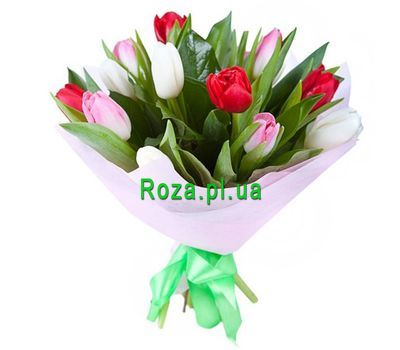 """""""Bouquet of 15 Tulips"""" in the online flower shop roza.pl.ua"""