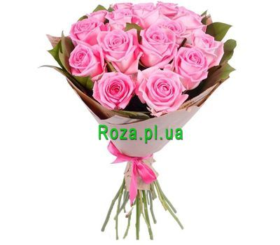 """""""Bouquet of 15 pink roses"""" in the online flower shop roza.pl.ua"""