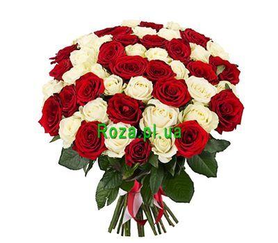 """""""Букет из 45 красных и белых роз"""" в интернет-магазине цветов roza.pl.ua"""